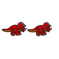 Set 2 pcs. Triceratops Red Dinosaur New Sew on / Iron On Patch Embroidered Appliques Size 5.9cm.x3.2cm.