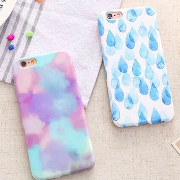 Raindrop Iridescent Cloud Cover Case for iPhone 5s 5se 6 6s Plus Gift 333