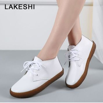 Genuine Leather Lace up Ladies Moccasins Short Boots Ankle Boots Footwear Flats Shoes