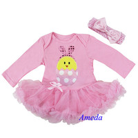 Pink Chick with Bunny Ears Spring Easter Tutu Dress