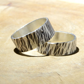 Tree Bark Hammered Sterling Silver Ring Set or Rustic Wedding Bands