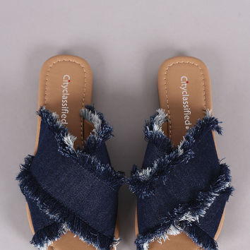 City Classified Crisscross Frayed Denim Slide Flat Sandal