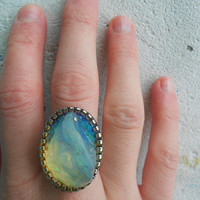 Ring with Opalite Stone + Silver-plate + Tinsels! ~Mountain Deep~ Elvish Luminous Crystal Statement Ring in sky Blue & bright Yellows!