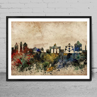 Brussels art, Brussels skyline, Painting, Brussels wall art, abstract art, Brussels Poster, Home Decor -x64