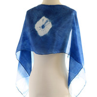 Indigo blue silk scarf, naturally dyed scarf, Shibori indigo scarf, natural Indigo dyed, cobalt blue silk, dark blue scarf, tie dyed shawl