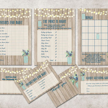 Baby Shower Games, Printable Set: Wishes for baby, Advice, Thank you, Bingo, Predictions, Candy Guess game, The price is right