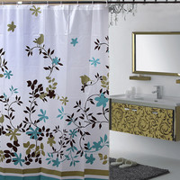 Shower Curtain Coffee Tree of Bathroom Drape Thickening Waterproof Mouldproof PEVA Shower Curtains