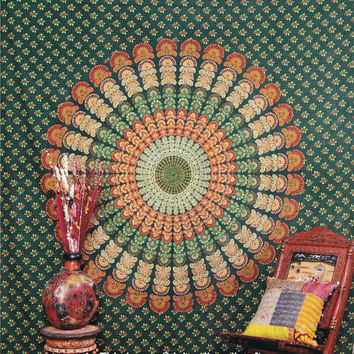 Indian Peacock Mandala Bedspread, Peacock Feather Pattern, Indian Tapestry - Beach Sheet - Hanging Wall Art, Throw Etchnic Decor Art