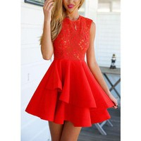 Red Strapless Lace Short Homecoming Dress