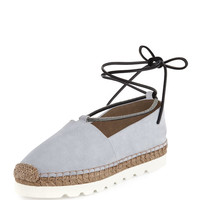 Brunello Cucinelli Suede Monili Ankle-Wrap Espadrille Flat, Cloud