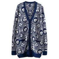 Portrait Print Single Breasted Long Sleeve Cardigan