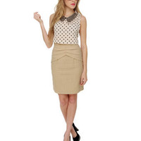 Beige Skirt - Knee Length Skirt - Cotton Skirt - $36.00