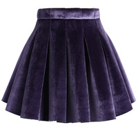 Glossy Velvet Pleated Mini Skirt in Purple Purple S