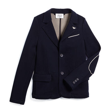 Contrast-Trim Knit Two-Button Blazer, Navy, Size 10-14,