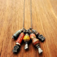 Necklace Handmade Paper Bead Charms Exhibition | CreatedbyRenee - Jewelry on ArtFire