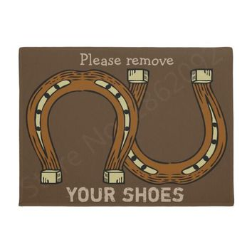 Autumn Fall welcome door mat doormat Funny Please Remove Your Shoes with Horseshoes  Novelty Horse Lover Welcome s Washable Floor Rug Carpet Joke Home AT_76_7