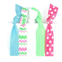 Polka Dot Hair Ties, Chevron Hair Ties for Girls - Preppy Pieces FOE Hair Ties - Preppy Hair Ties in Blue, Pink, Green - Ponytail Holder Set