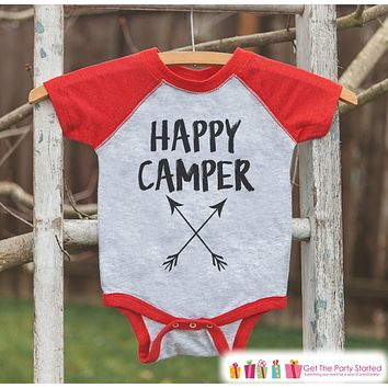 Red's Happy Camper Arrows Outfit - Red Raglan Shirt, Onepiece - Kids Baseball Tee - Camp Shirt Baby, Toddler, Youth - Adventure Clothing