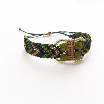 Chevron bracelet with glass beads - boho bracelet - green bracelet - cord bracelet - friendship bracelet - butterfly bracelet - macrame