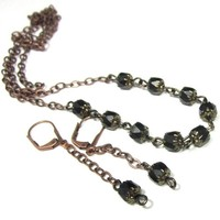Antiqued copper and black necklace earring set cathedral edge crystals
