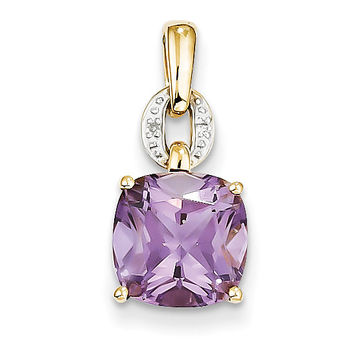 14k Diamond and Amethyst Square Pendant XP3925AM/AA