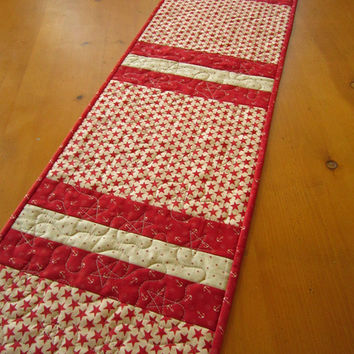 Handmade Quilted Table Runner Stripes Red Patriotic