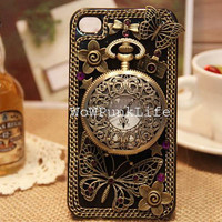 Amazing Vintage iPhone Case Retro Pocket Watch Butterfly iPhone Cover iPhone 4/4S Case iPhone 5 Case Samsung galaxy s3 Case Cover Galaxy s2