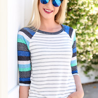 Stripe By Me Top - Blue