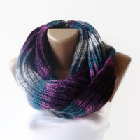 purple gray eternity scarf , infinity loop scarf , women scarves , neckwarmer , stripe winter scarves