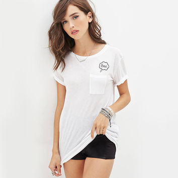 White Loose Shirt with Pocket and Callout Print
