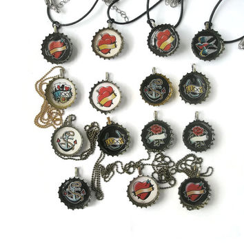 Jewellery Recycled Bottle cap Pendants Retro tattoo styles  Necklace
