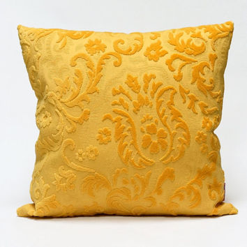 Velvet Pillow Cover in warm Yellow - Handmade with Love from vintage upholstery fabric - 45x45 / 18x18