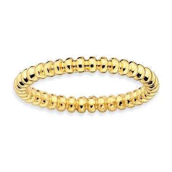 Sterling Silver Stackable Expressions Gold-plated Beaded Ring