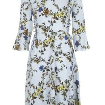 Trailing Floral Print Midi Dress - Blue