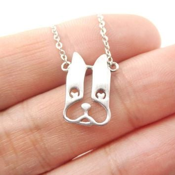 French Bulldog Face Shaped Cut Out Pendant Necklace in Silver | Animal Jewelry