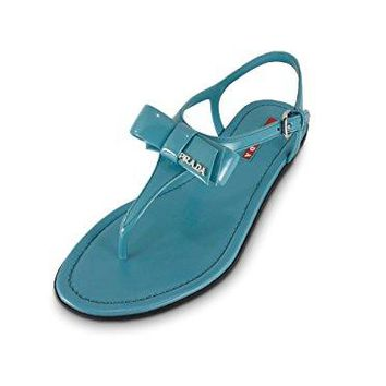 Prada Women's Patent Leather Flat Thong Sandals, Aqua-Blue 3Y5692