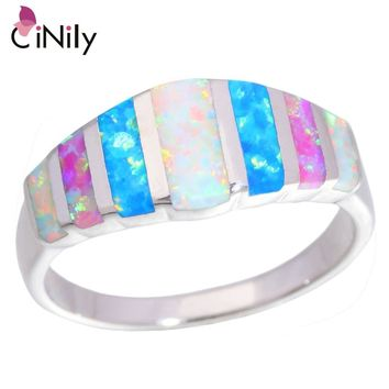 Created Pink Blue White Fire Opal Silver Plated Jewelry Ring Size 5-13