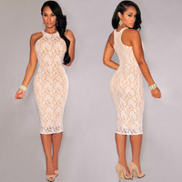 Sexy Floral Lace Dress For Women Knee-length Midi Dress