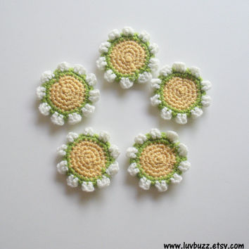 Crochet Marigold Flower Appliques, set of five, ready to ship.