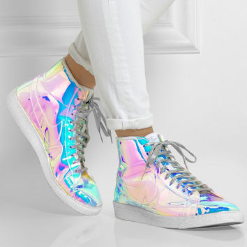 Nike | Blazer Mid iridescent faux leather high-top sneakers