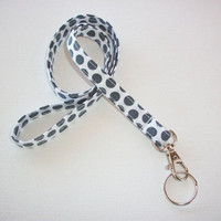 Lanyard  ID Badge Holder - NEW THINNER design - gray polka dots on white - Lobster clasp and key ring coworker gift