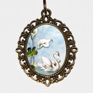 Swan Necklace, Bird Jewelry, White Swan, Bronze Oval Pendant, Gift For Her