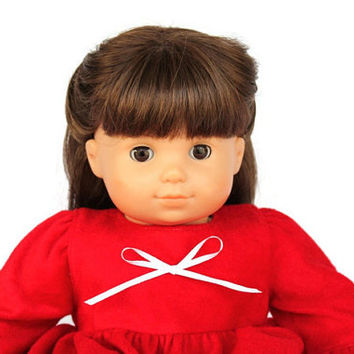 Christmas Red Doll Nightgown & Panties Nightie Pajamas Holidays Winter Bitty Twin 14 to 16 in Baby Doll (2 Piece Set) -US Shipping Included