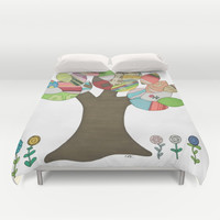 Button Tree Duvet Cover by Erin Brie Art