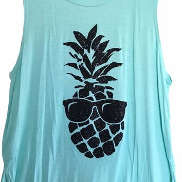 Imagine Women's Fashion Casual Pineapple Printed Sleeveless Tank Top T Shirt LG-M