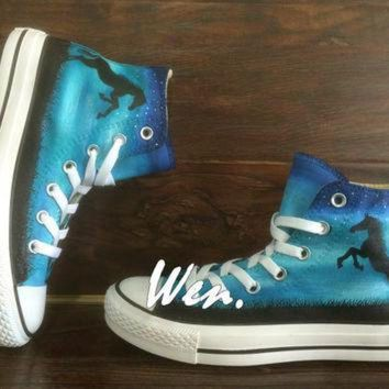 VONR3I Horse Converse Horse Shoes Hand Painted Shoes Painted Custom Converse Canvas Shoes Bir