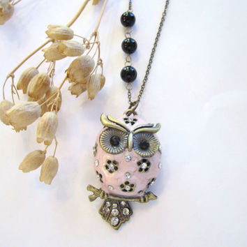 Owl Necklace  Pink with Black Onyx Beads by 636designs on Etsy