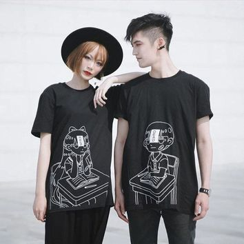 Harajuku Couple Print T-Shirt
