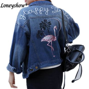 New Fashion women Demin jackets long sleeve Batwing Sleeve Casual Loose Embroidered jeans coat jacket Streetwear