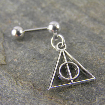 "Harry Potter Deathly Hollows 16g 1/4"" 6mm Triangle Circle Geometric Celtic Cartilage Dangle Earring Helix Stud Barbell Bar Piercing"